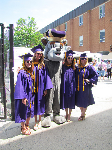 Duke Dog with 2015 Grads