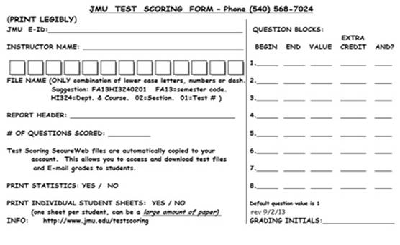 James Madison University Test Scoring