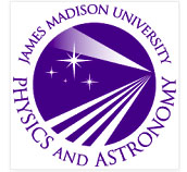 "Purple circle with stars and light beams in white, text ""James Madison University"" in arc above; ""Physics and Astronomy"" in arc below"