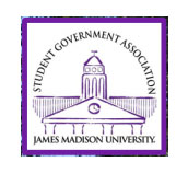 drawing of Wilson Hall with text Student Government Association in arc above and James Madison University below