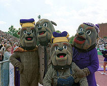 The Duke Dog family posing at a football game