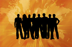 A silhoutte of several students