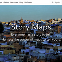 image of Esri Story Map home page and the slogan: