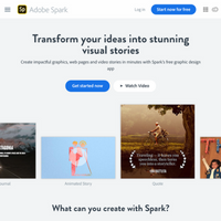 Image of landing page of Adobe Spark