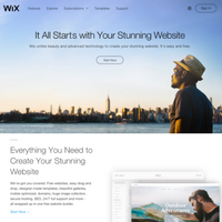image of Wix.com's landing page