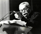 Amiri Baraka reading at 1994 Furious Flower Poetry Conference (photo by C. B. Claiborne)