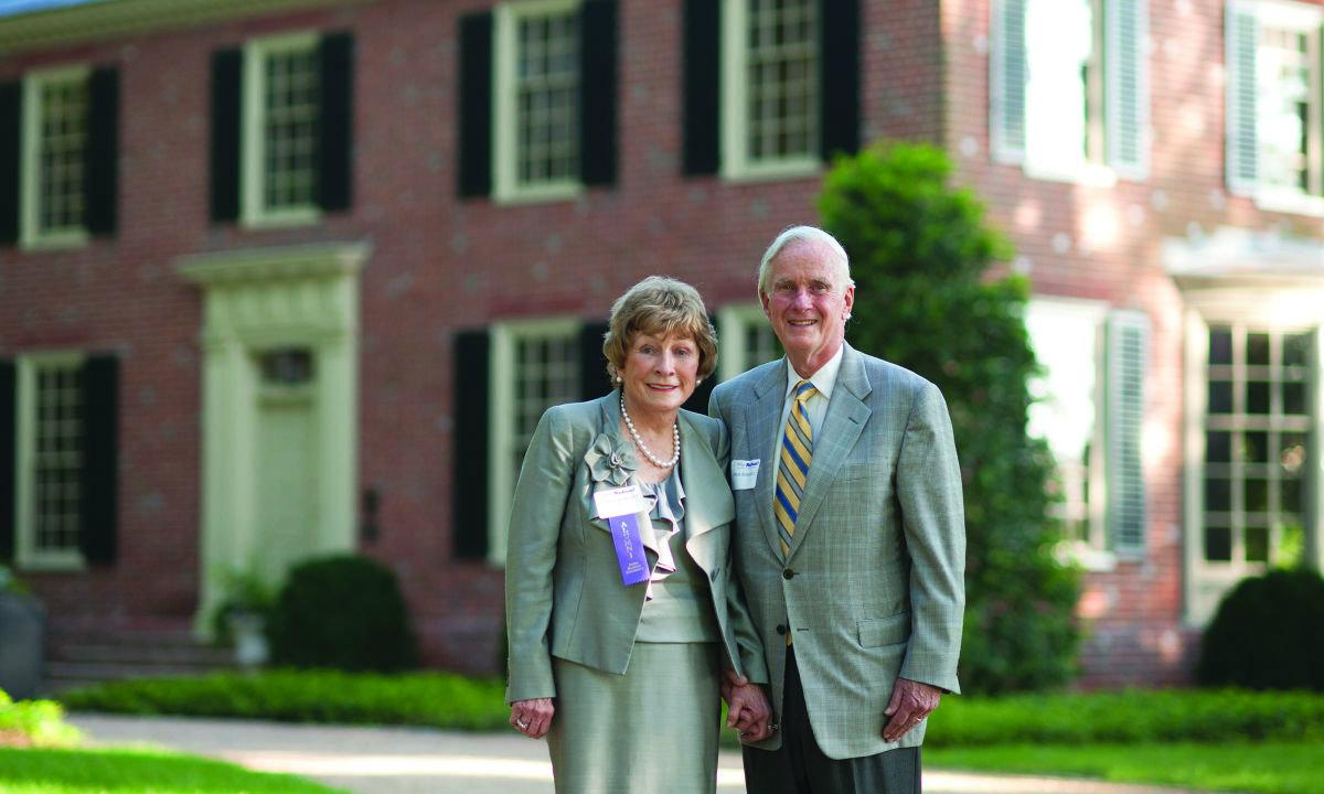 Dick and Shirley Roberts outside home