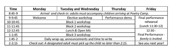 JMU Poetry Camp schedule