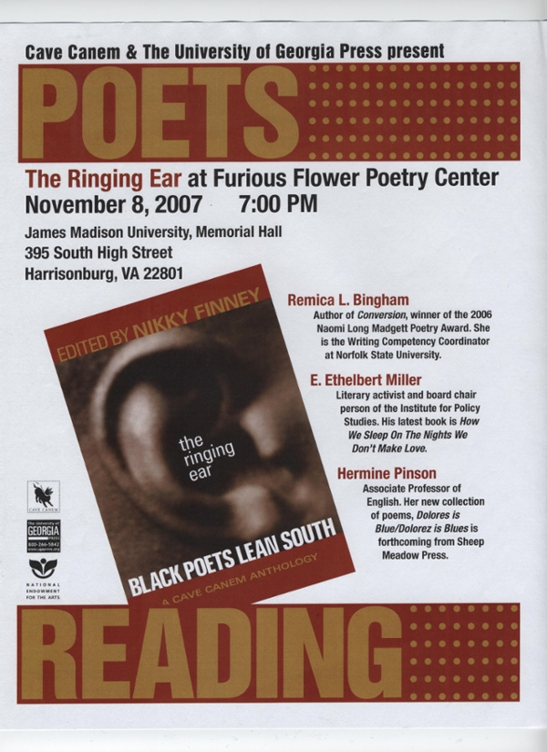 Ringing Ear Poetry Reading presented by Cave Canem and Furious Flower Poetry Center Poster