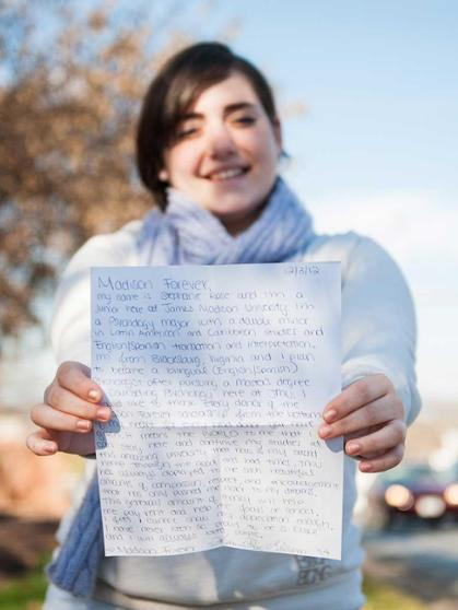 Stephanie Rose Guilman displays her letter to donors