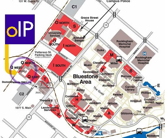 OIP office circled on a map