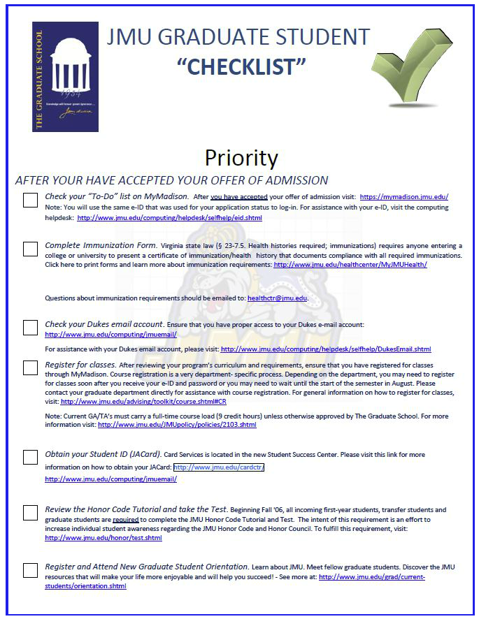 Newly Admitted Student Checklist