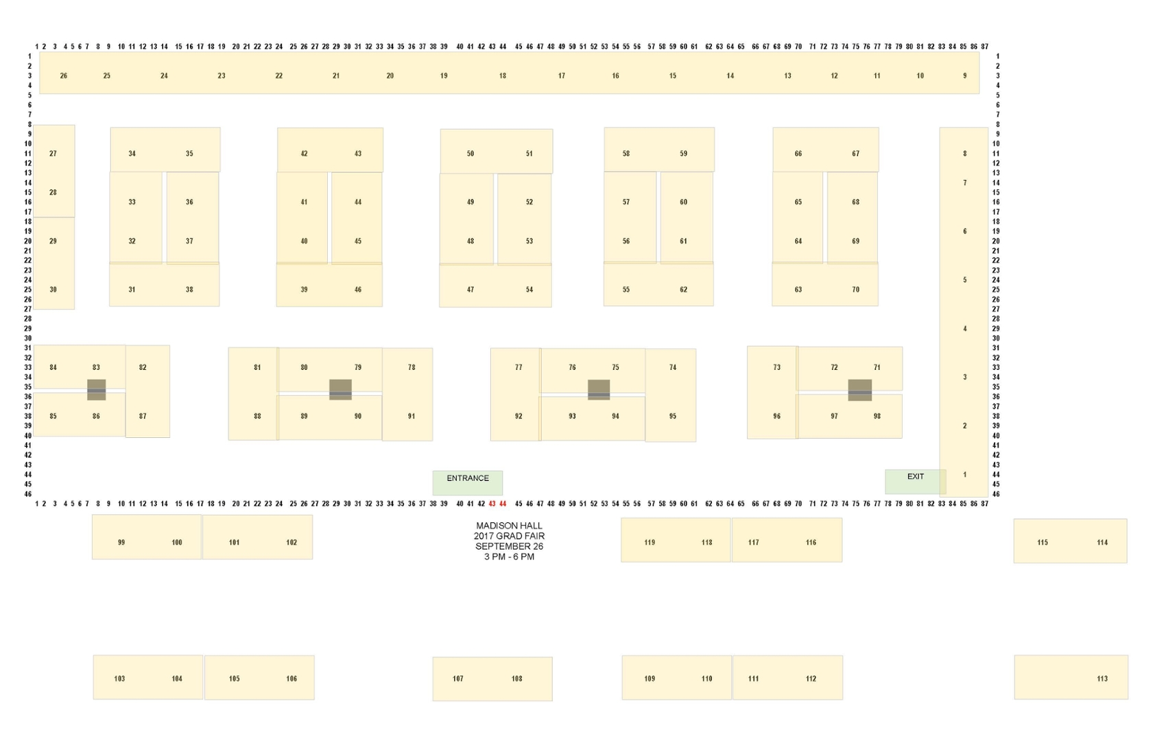Map of table layout
