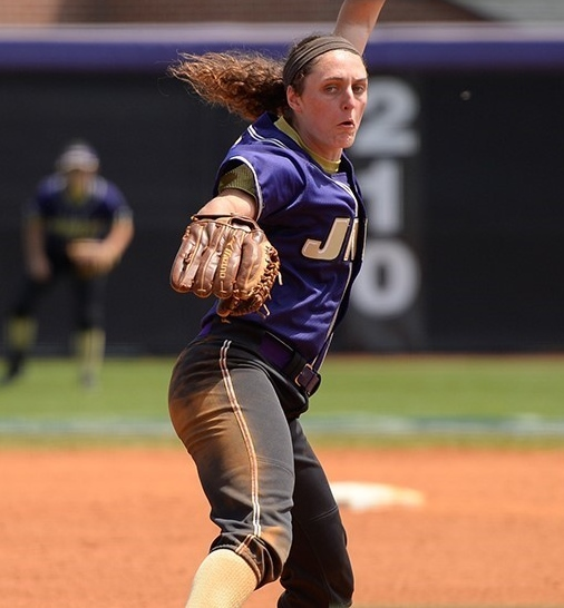 Jailyn Ford pitching for the JMU Dukes