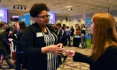 Student talks to a recruiter at the 2019 Career Fair