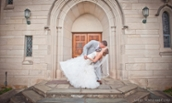 Morgan and Josh Wells kissing in front of church - March 2016 - Mike Topham