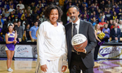Toia Giggetts after scoring her 1000th point with the Dukes - 2015