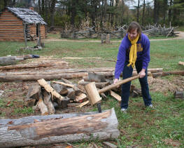 Alyssa Fisher chopping wood