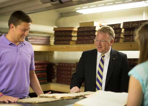 JMU students are working with Chaz Evans-Haywood (Clerk of Courts) to organize and preserve historical documents.