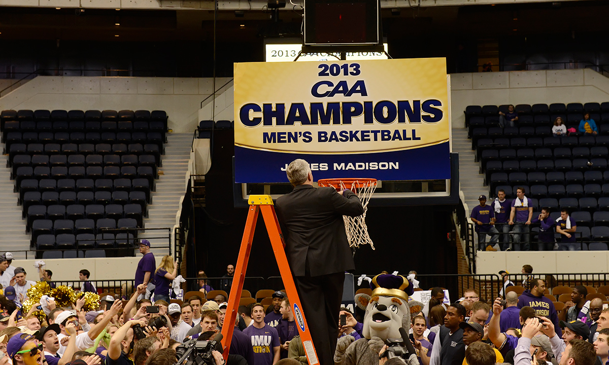 The JMU men's basketball team presented President Alger with an unexpected Inauguration Week honor on Monday...
