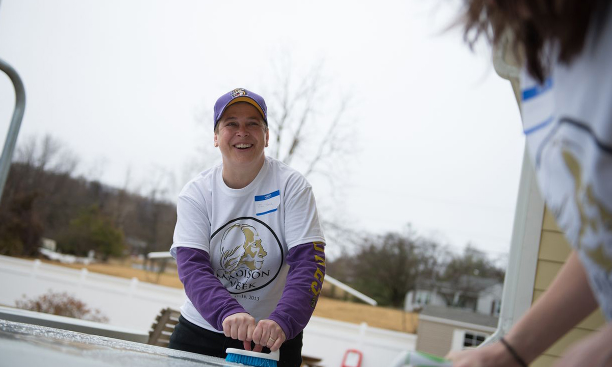 Jen Steele is one of several JMU employees volunteering at Generations Crossing as part of JMU's Day of Service.