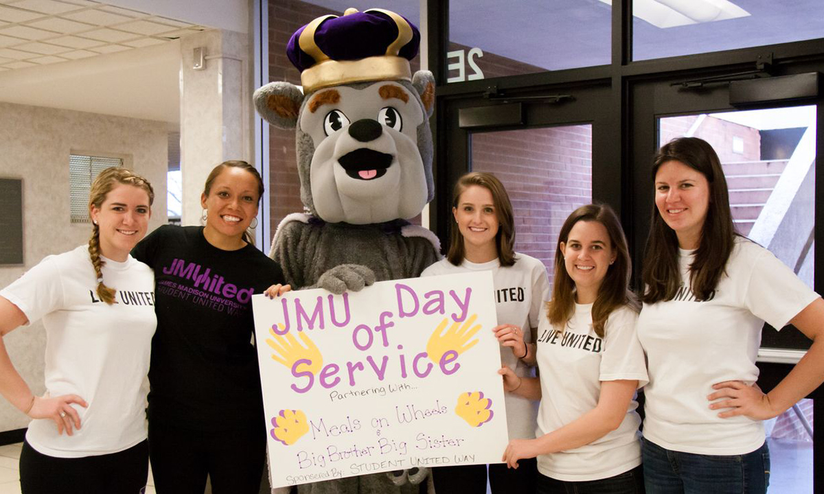 Members of the Student United Way club join the Duke Dog in the JMU Day of Service.