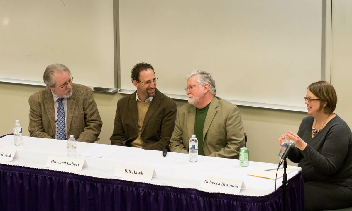 JMU professors (L-R) Kevin Hardwick (history), Howard Lubert (political science), William Hawk (philosophy and religion) and moderator Rebecca Brannon (history) discuss the political thought of President James Madison.