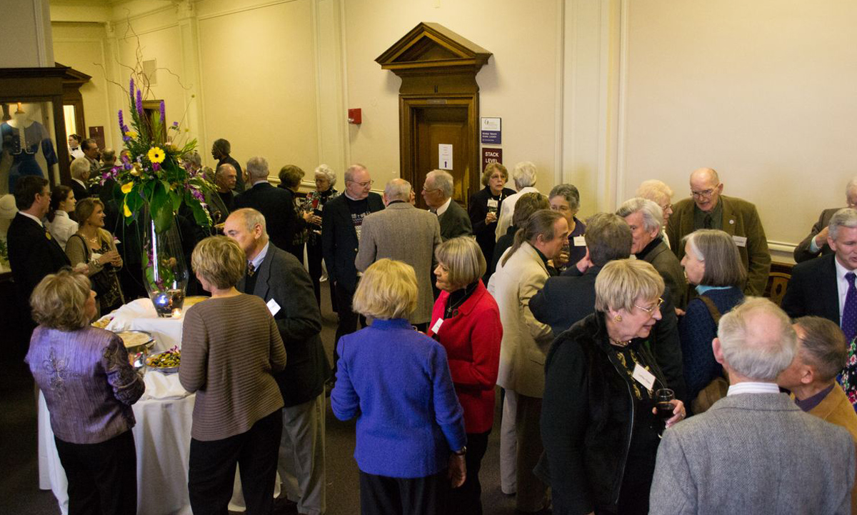 Faculty emeriti enjoy a reception in their honor at Carrier Library. The JMU Faculty Emeriti Association sponsors events throughout the year like a trip to the Dale Chihuly exhibit at the Virginia Museum of Fine Arts in January.