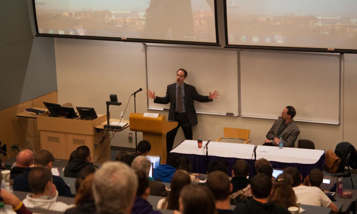 "David Waldstreicher, professor of history at Temple University, spoke to a capacity crowd on ""Madison, Slavery and the Constitution."""