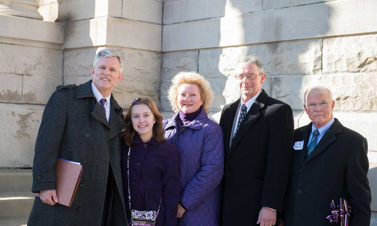 President Alger, daughter Eleanor, Mrs. Alger, Harrisonburg Mayor Ted Byrd and Chairman of the Rockingham County Board of Supervisors Fred Eberly.