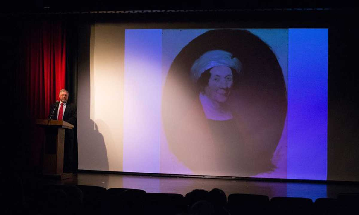 Dr. David Mattern, associate editor of The Papers of James Madison at the University of Virginia, describes the mutually affectionate relationship James and Dolley Madison (pictured on screen) enjoyed.