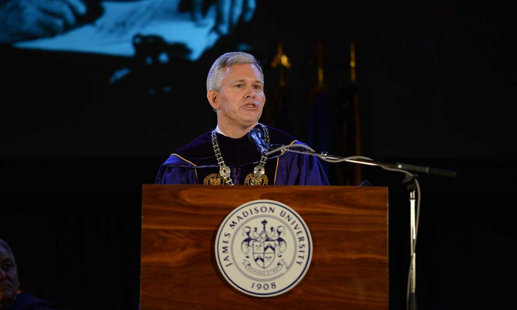 President Alger delivers inaugural speech