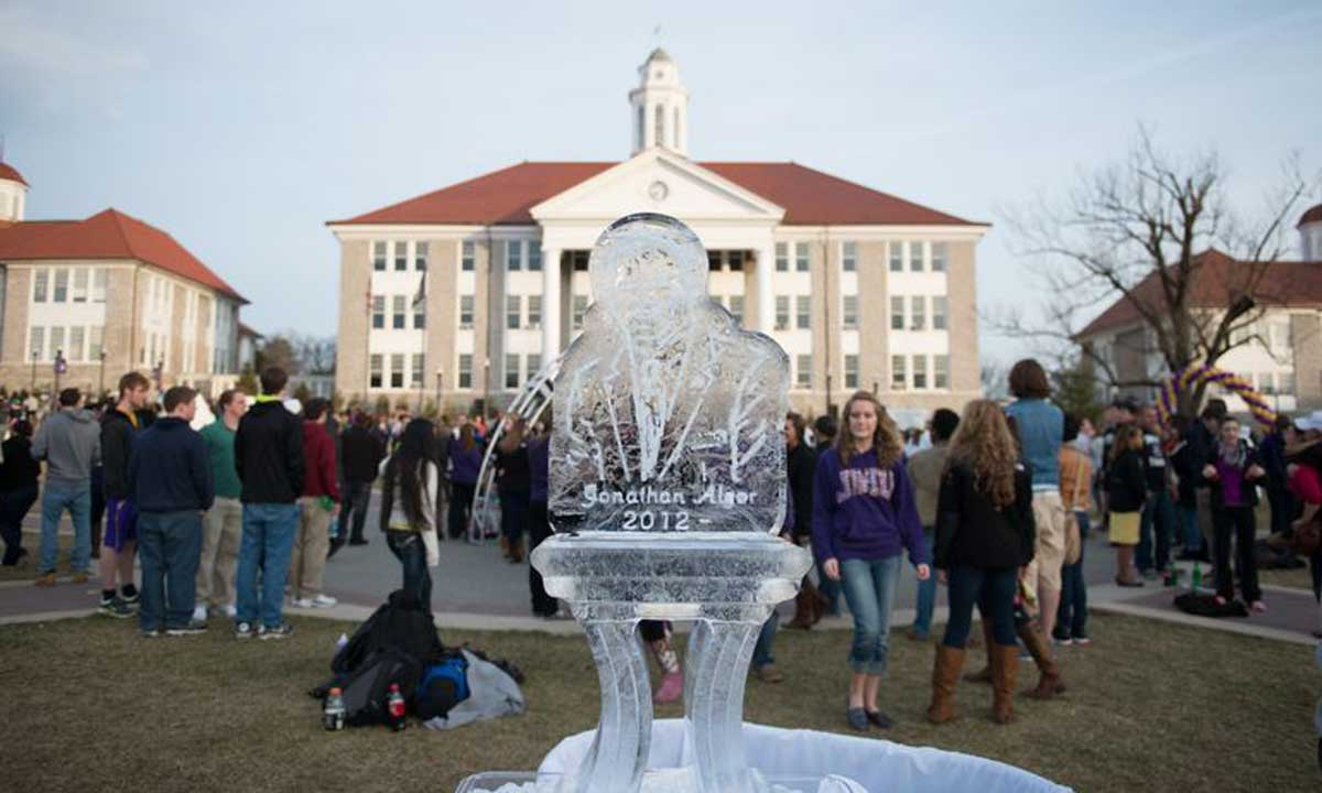 Ice sculpture of President Alger at MadisonFest.  There was an ice sculpture for each of JMU's 6 presidents.