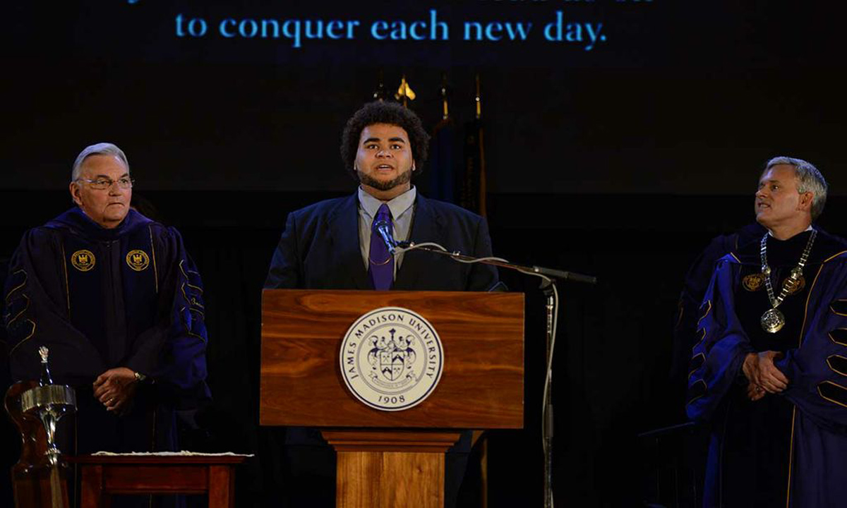 "Elliott Paige ('13), music major, sings ""Alma Mater"""