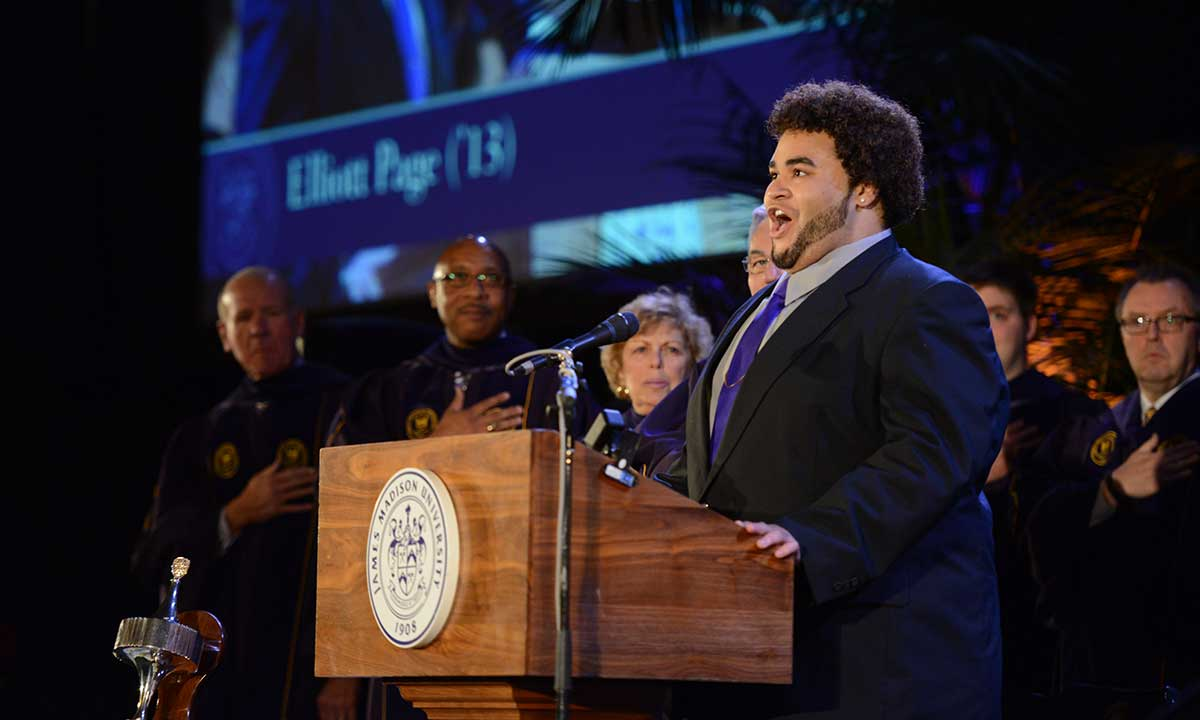 Elliott Paige ('13), music major, sings the National Anthem