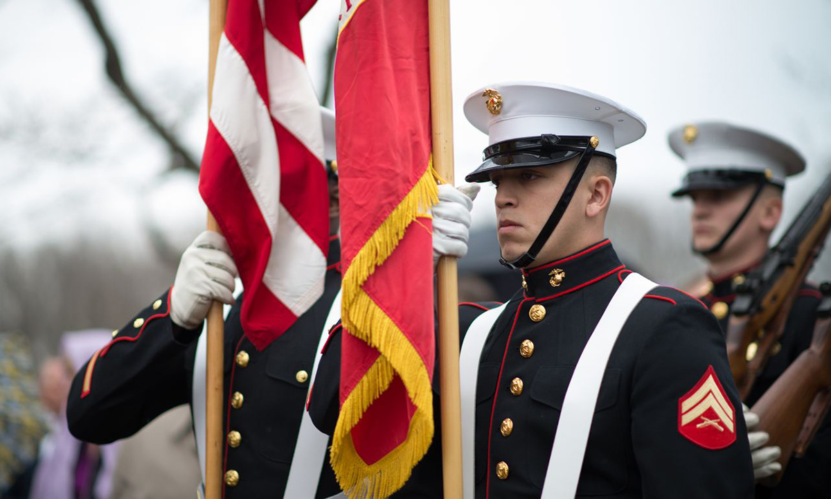 The United States Marine Corps Color Guard presented the colors during the 262nd anniversary of the birth of James Madison at Montpelier.