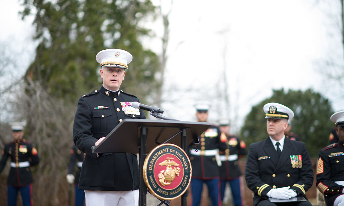 Col. David Maxwell, assistant chief of staff at Marine Corps Base Quantico, speaks on the legacy of James Madison during a ceremony at Montpelier to commemorate the 262nd anniversary of his birth.