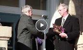 President Alger presents the keys to the university to the Harrisonburg City mayor