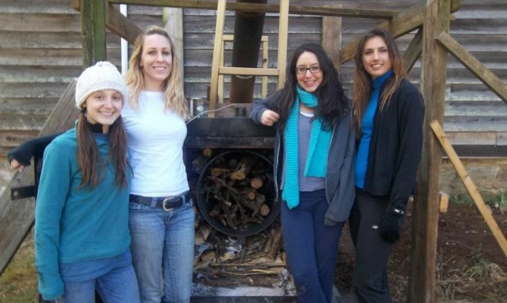ISAT alums Amanda Martindale and Julianne Decker with Biochar Team
