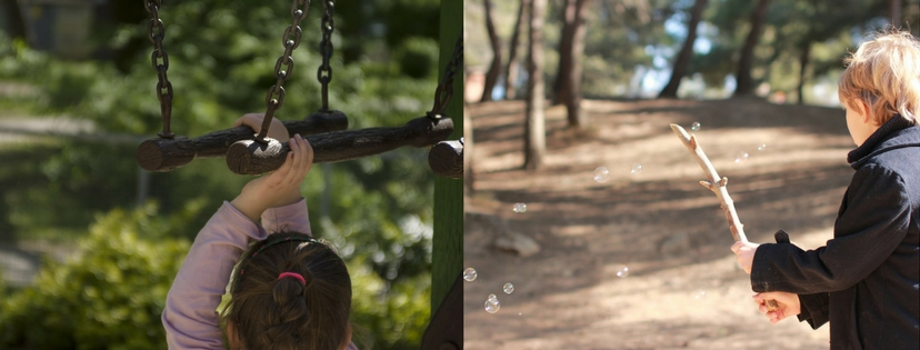 Girl hanging from monkey bars; boy popping bubbles with stick