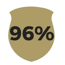 Gold badge with 96 percent overlay