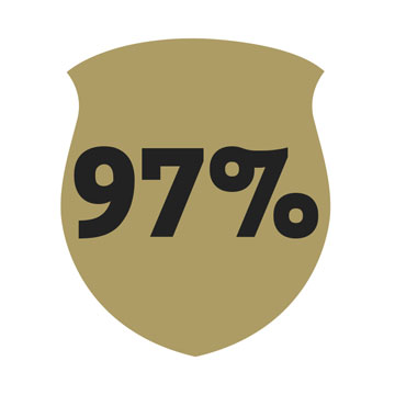 Gold badge with 97 percent overlay