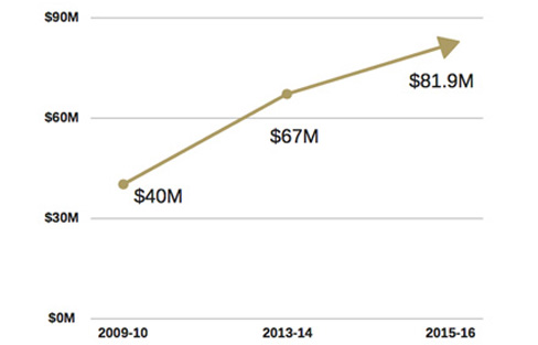 Endowment chart showing growth to $81.9 million in 2015-16