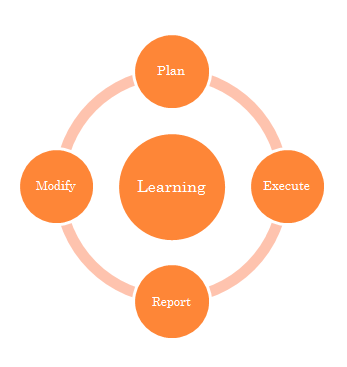 Iterative Learning Process: Plan, Execute, Report, Modify