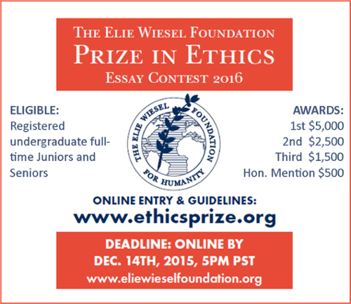 Elie Wiesel Ethics Essay Prize