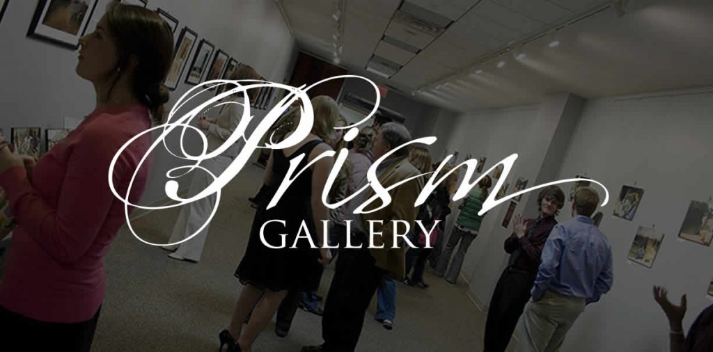 Prism logo with background of visiting patrons
