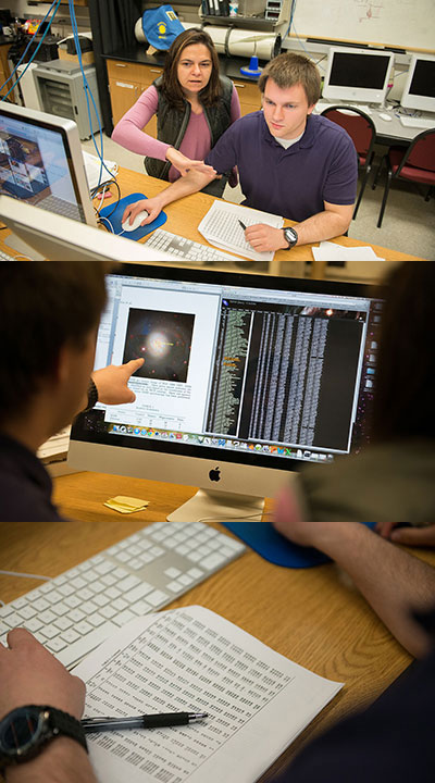 three photos stacked. top photo shows Dr. Anca Constantin and student, facing camera, looking at a computer screen; second photo shows what they see on the screen; third photo shows a paper with data.