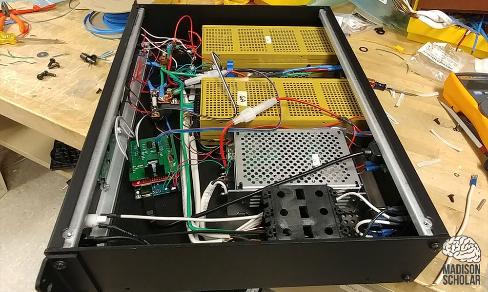 top down view of inside of power box and its electrical components
