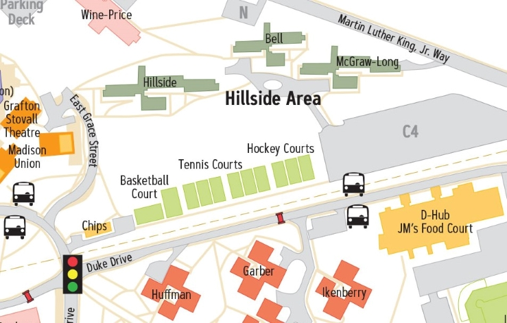 Campus Map: James Madison University: Hillside Area