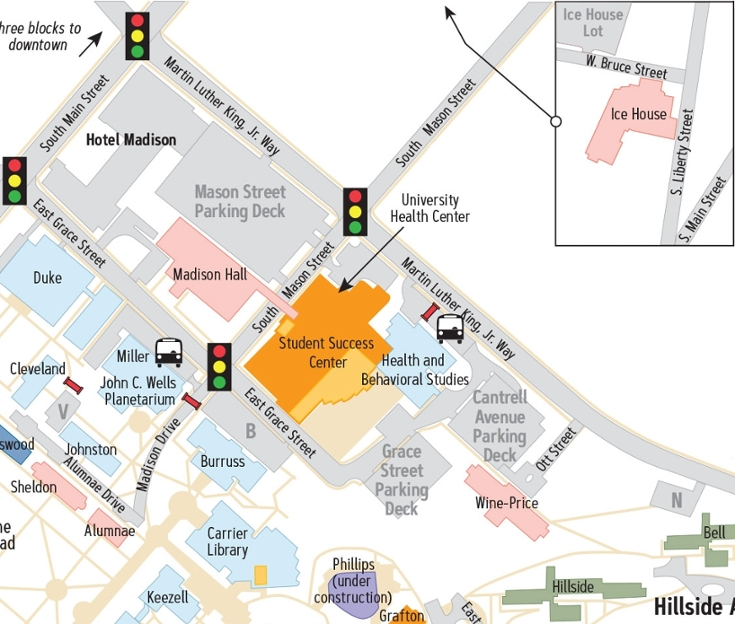 Campus Map: James Madison University: North Campus Area